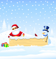 SantaChristmas bird and Snowman with banner vector image vector image