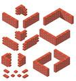 set isometric masonry items vector image vector image