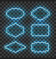 Set of realistic glowing blue neon frames