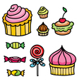 set with sweets vector image