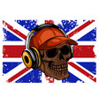 skull with headphones listening to music drawing vector image