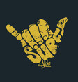 surfing hand sign print vector image vector image