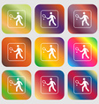 Tennis player sign icon Nine buttons with bright vector image vector image