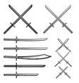 set of samurai swords design element for logo vector image