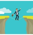 Abyss gap or cliff concept with businessman sky vector image
