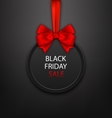 Black Friday Round Frame with Red Ribbon and Bow vector image