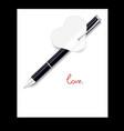 black pen paper hearts valentines day vector image vector image