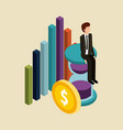 businessman sitting in clock money graph isometric vector image