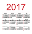 Calendar for 2017 on white background EPS8 vector image vector image