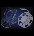 camera and a film on blue vector image vector image