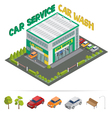 Car Service Car Wash Isometric Building vector image