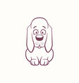 cartoon basset hound in the ink contour style vector image