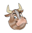 cartoon bull animal farm strong power vector image