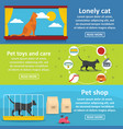 cat care tools banner horizontal set flat style vector image vector image
