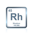 chemical element rhodium from the periodic table vector image vector image