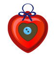 christmas toy in the form of a red heart with blue vector image vector image