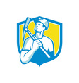 Coal Miner Holding Pick Axe Looking Up Shield vector image vector image
