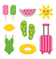 colorful flat design summer set vector image vector image