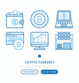 cryptocurrency thin line icons set vector image vector image