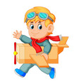 cute little boy running play with airplane toys vector image