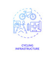 cycling infrastructure blue gradient concept icon vector image