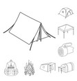 different kinds of tents outline icons in set vector image vector image