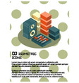 dj color isometric poster vector image
