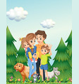 family in woods scene vector image vector image