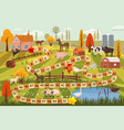 farm animals board game cow bull sheep rooster vector image