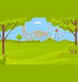 ferris wheel amusement-park roller coaster trees vector image