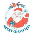 Festive Funny Merry Christmas card with Santa vector image