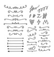 hand drawn calligraphic design elements set of vector image