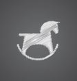 horse toy sketch logo doodle icon vector image