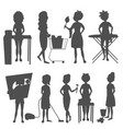 housewifes homemaker woman silhouette cute vector image