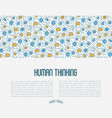 human thinking concept with thin line icons vector image vector image