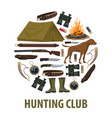hunting club poster of hunter weapon and equipment vector image vector image