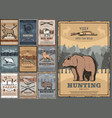 hunting sport club retro posters vector image vector image