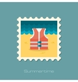 Life jacket flat stamp vector image
