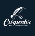 logotype hammer for carpenter wood workshop vector image vector image