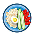 lunch box with meals of fried egg rice garnish vector image vector image