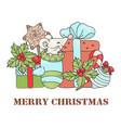 mouse christmas new year animal cartoon ill vector image