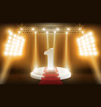 number one on stage background and spotlight vector image