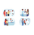 pediatrician mother with children at doctors vector image
