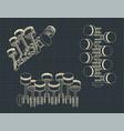 piston crank mechanism drawings vector image