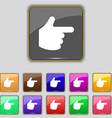 pointing hand icon sign Set with eleven colored vector image vector image