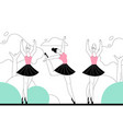 prima ballerinas in classical ballet on stage of vector image