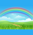 rainbow landscape cartoon background vector image