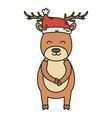 reindeer wearing hat celebration merry christmas vector image