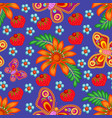 seamless background with flowers berries and vector image vector image