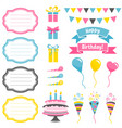 set colorful birthday party elements isolated vector image
